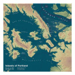 Islands of Portland--Extreme Sea Rise Map Poster