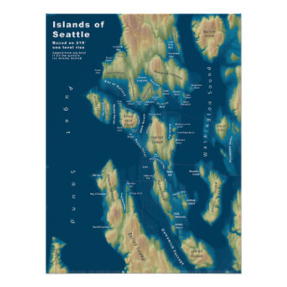 "Islands of Seattle--Extreme Sea Rise, 18""x24"" Poster"