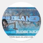 islandteaserPRINT, WWW.BASS-ISLAND.COM Pegatina Redonda
