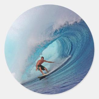 Islas azules grandes de Mentawai de la onda que Pegatina Redonda