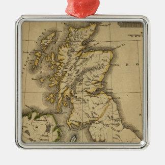 Islas británicas 2 adorno navideño cuadrado de metal