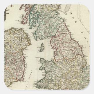 Islas británicas 4 calcomanía cuadradas personalizada