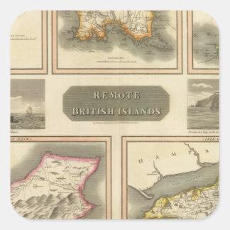 Islas británicas alejadas pegatina cuadradas personalizadas