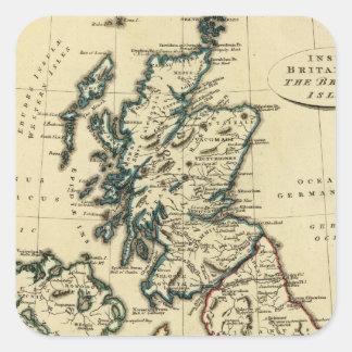 Islas británicas con los límites resumidos pegatina cuadrada