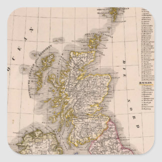 Islas británicas, Inglaterra, Irlanda Pegatina Cuadrada
