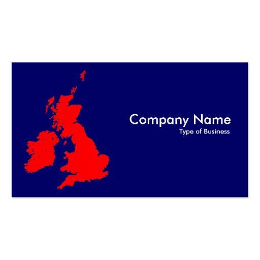 Islas británicas - rojo en azul marino (000066) plantillas de tarjetas personales