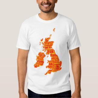 Islas británicas tipográficas - ámbar y rojo camisas