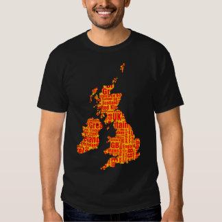 Islas británicas tipográficas - ámbar y rojo playeras