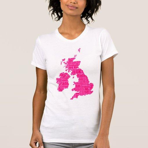 Islas británicas tipográficas - sombras del rosa tshirts