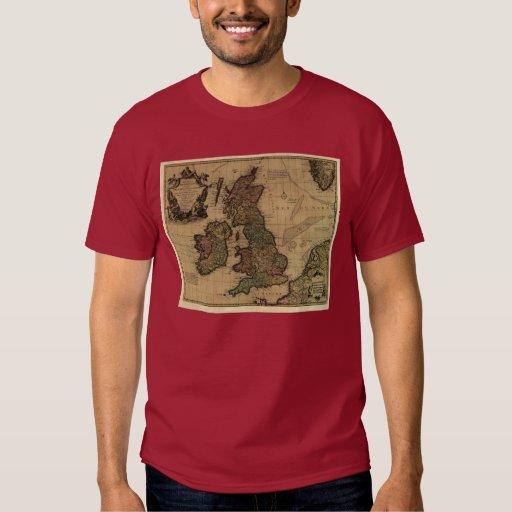 Islas Britanniques, de Les mapa 1700's Camisas