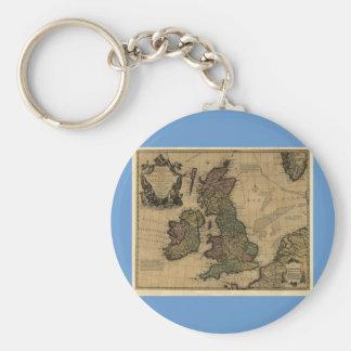 Islas Britanniques, de Les mapa 1700's Llavero Redondo Tipo Pin
