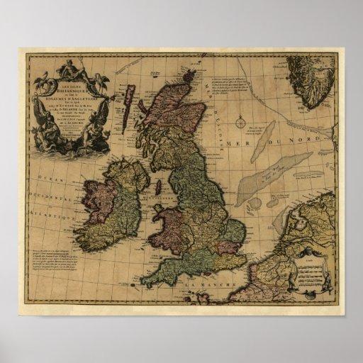 Islas Britanniques, de Les mapa 1700's - modificad Posters
