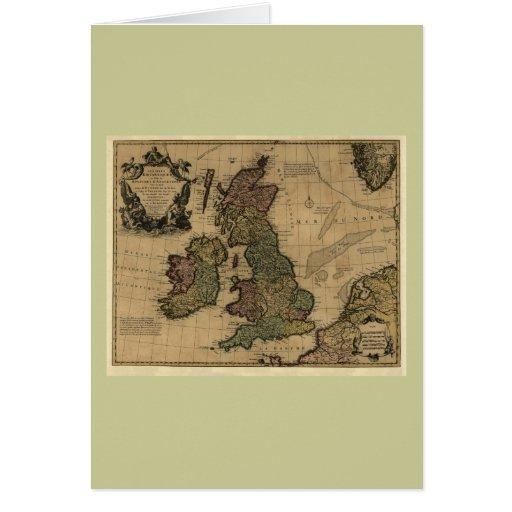Islas Britanniques, de Les mapa 1700's Tarjeta De Felicitación