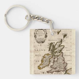 Islas Britanniques - mapa 1700 de Nicolás Fils Llavero Cuadrado Acrílico A Doble Cara