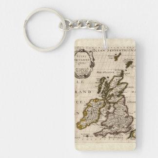 Islas Britanniques - mapa 1700 de Nicolás Fils Llavero Rectangular Acrílico A Doble Cara