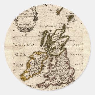 Islas Britanniques - mapa 1700 de Nicolás Fils Pegatina Redonda