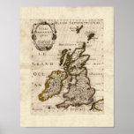 Islas Britanniques - mapa 1700 de Nicolás Fils San Poster