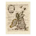 Islas Britanniques - mapa 1700 de Nicolás Fils San Postal