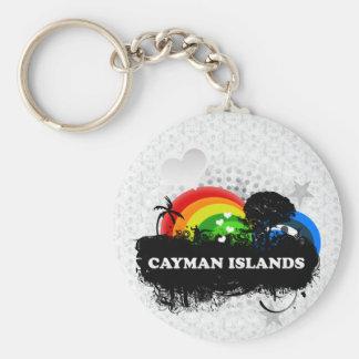 Islas Caimán con sabor a fruta lindas Llavero Redondo Tipo Pin