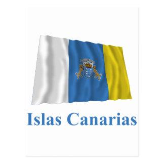 Islas Canarias que agitan la bandera con nombre en Tarjeta Postal