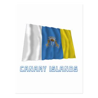 Islas Canarias que agitan la bandera con nombre Postal