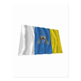 Islas Canarias que agitan la bandera Postal