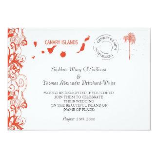 Islas Canarias que casan la invitación Invitación 12,7 X 17,8 Cm