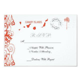 Islas Canarias que casan la tarjeta de RSVP Invitación 8,9 X 12,7 Cm