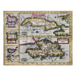 Islas caribeñas - mapa del siglo XVII Impresiones