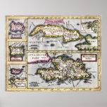 Islas caribeñas - mapa del siglo XVII Póster