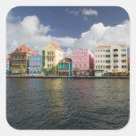 Islas de ABC, CURAÇAO, Willemstad: Harborfront Calcomanía Cuadrada Personalizada