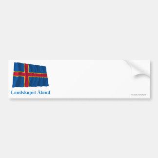 Islas de Aland que agitan la bandera con nombre en Pegatina Para Auto