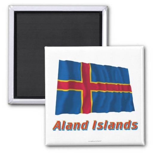 Islas de Aland que agitan la bandera con nombre Imán Para Frigorífico