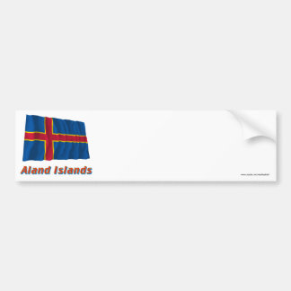 Islas de Aland que agitan la bandera con nombre Pegatina Para Auto