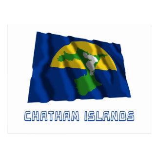 Islas de Chatham que agitan la bandera con nombre Postal