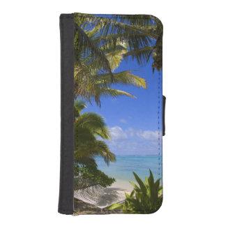 Islas de cocinero alineadas palma de la playa 2 cartera para teléfono