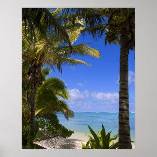 Islas de cocinero alineadas palma de la playa 2 poster