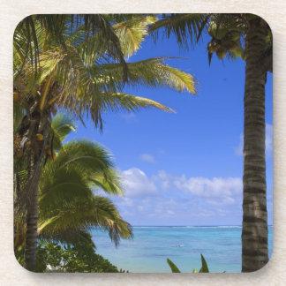 Islas de cocinero alineadas palma de la playa 2 posavasos