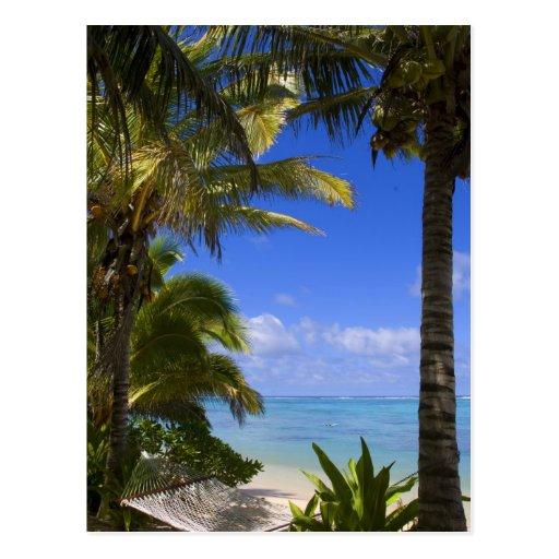 Islas de cocinero alineadas palma de la playa 2 tarjeta postal
