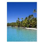 Islas de cocinero alineadas palma de la playa 2 postal