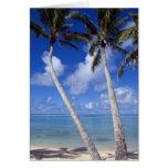 Islas de cocinero alineadas palma de la playa tarjeta de felicitación