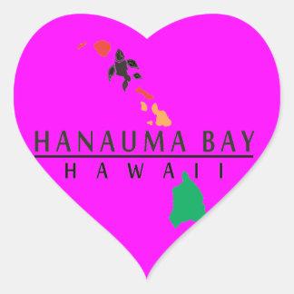 Islas de Hawaii - bahía de Hanauma Pegatina En Forma De Corazón