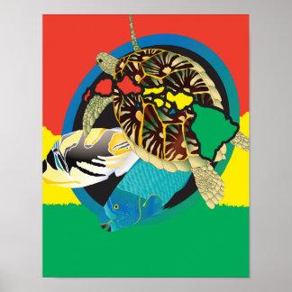 Islas de Hawaii de la tortuga del reggae de Hawaii Póster