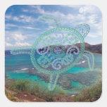 Islas de Hawaii y tortuga de Oahu Calcomanía Cuadradas Personalizada
