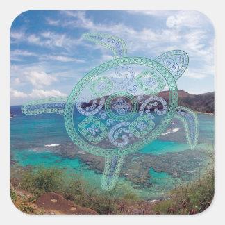 Islas de Hawaii y tortuga de Oahu Pegatina Cuadrada