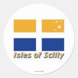 Islas de la bandera de Scilly con nombre Pegatina Redonda
