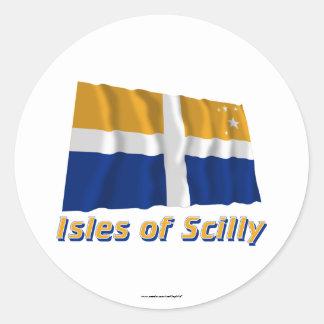 Islas de la bandera que agita de Scilly con nombre Pegatina Redonda