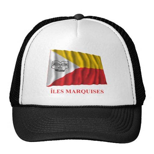 Islas de Marquesas que agitan la bandera con nombr Gorras