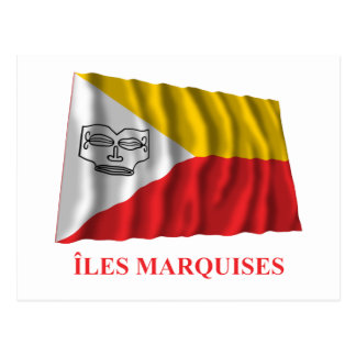 Islas de Marquesas que agitan la bandera con Tarjeta Postal