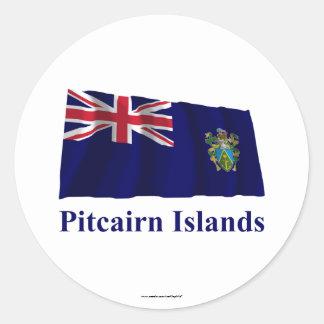 Islas de Pitcairn que agitan la bandera con nombre Pegatina Redonda